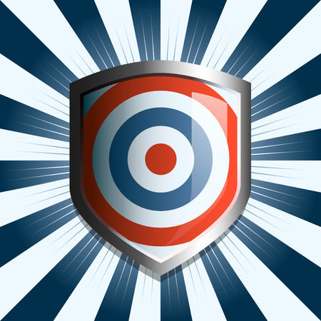 Red white and blue target shield emblem background Vector