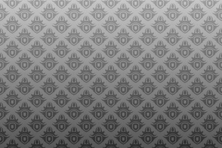 灰色の旧式なシームレスな壁紙の背景パターン設計