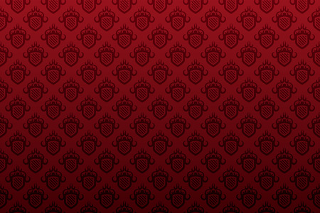 赤い盾シームレスな壁紙パターン背景