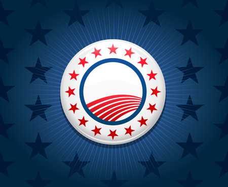 partisan: Election campaign button on blue star background