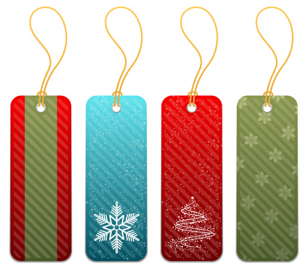 christmas icon: Set of Christmas gift tags in 4 styles Illustration