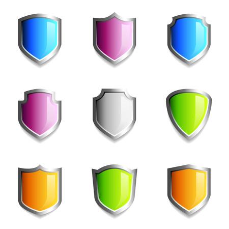 shield emblem: Icone simbolo scudo lucida in vari colori Vettoriali