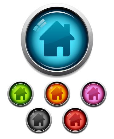 icono inicio: Brillante casa bot�n de icono establecido en 6 colores  Vectores