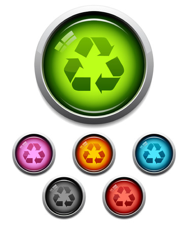 Glossy recycle symbol button icon set in 6 colors