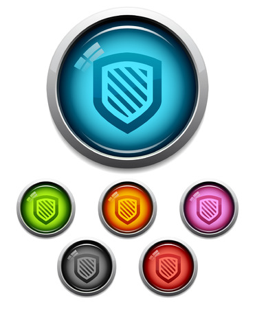 Glossy shield button icon set in 6 colors Vector