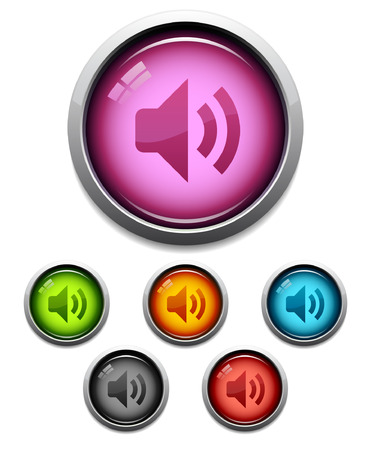 Glossy audio button icon set in 6 colors Illustration