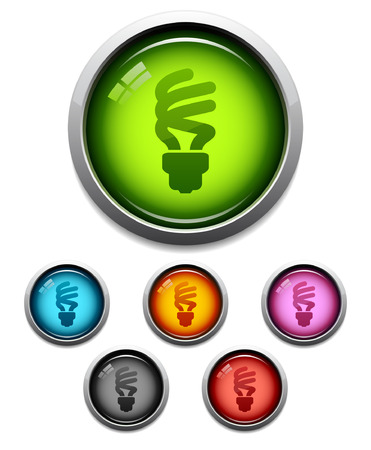 Glossy lightbulb button icon set in 6 colors Vector