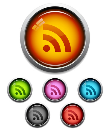 Glossy RSS feed button icon set in 6 colors Vector