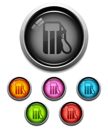 Glossy fuel pump button icon set in 6 colors Vector