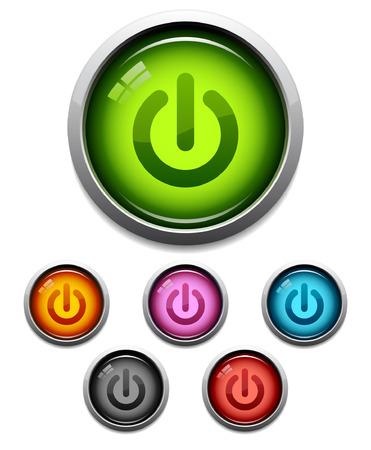 Glanzende power knop icon set in 6 kleuren Vector Illustratie