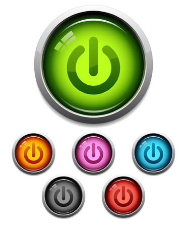 Glossy power button icon set in 6 colors Ilustracja