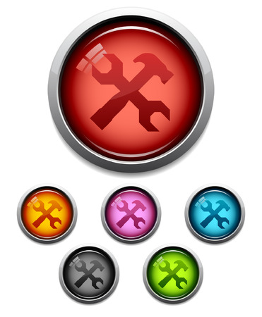 Glossy tool button icon set in 6 colors Vector