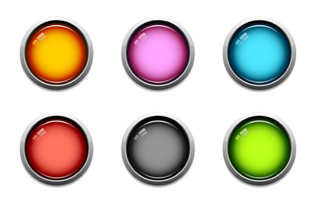 Glossy button icon set in 6 colors Vector