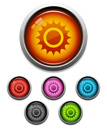 Glossy sun button icon set in 6 colors Vector