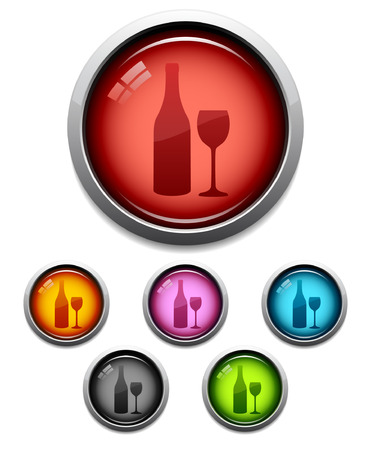 Glossy wine button icon set in 6 colors Vector