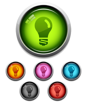 Glossy lightbulb button icon set in 6 colors Stock Vector - 3457849