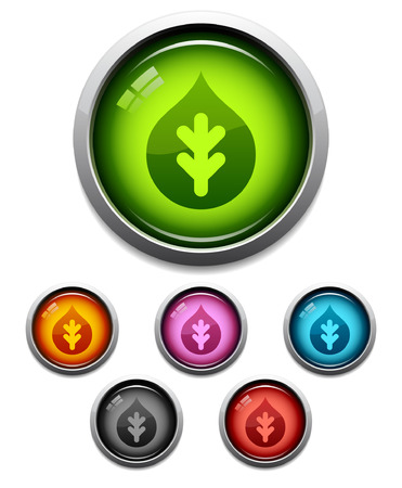 Glossy nature theme button icon set in 6 colors Vector