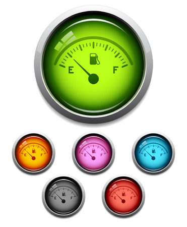 gas gauge: Glossy gas gauge button icon set in 6 colors