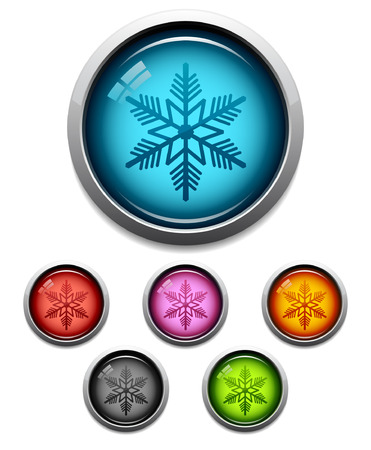 Glossy snowflake button icon set in 6 colors Vector