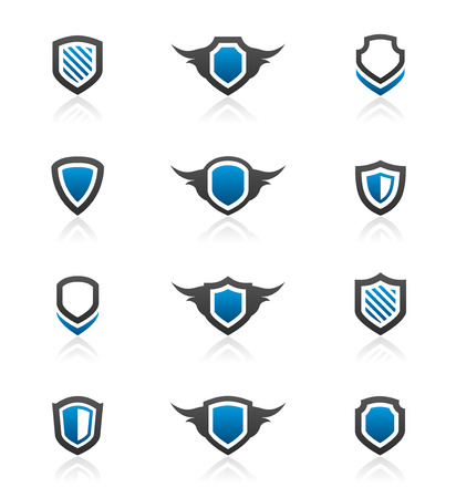 blue grey coat: Set of 12 shield emblem design elements and graphics Illustration