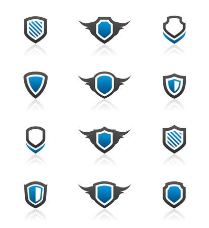 Set of 12 shield emblem design elements and graphics 矢量图像