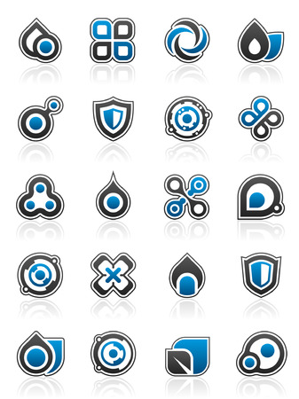 blue flame: Set of 20 abstract design elements and graphics