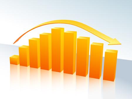 Increase and decrease three-dimensional bar graph Illustration