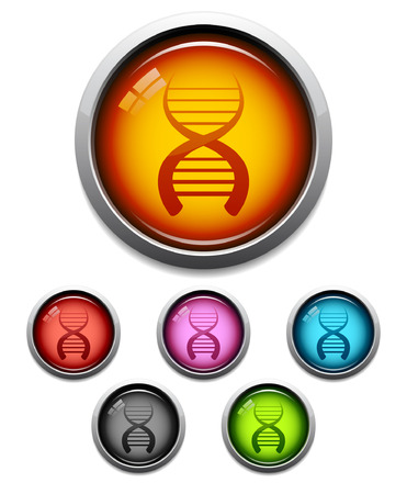 Glossy DNA button icon set in 6 colors Vector