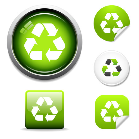 Recycle symbol button and sticker icon set Stock Vector - 3839278