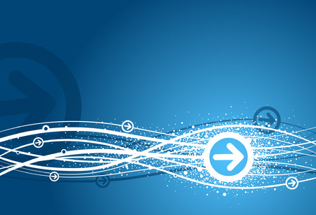 Abstract curves and arrow background in blue