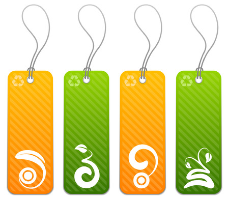 Green and orange product tags with floral icons