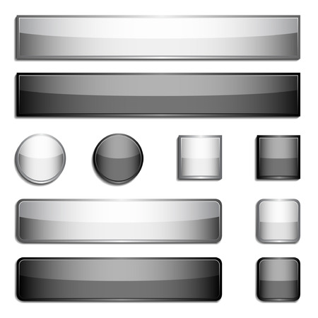square shape: Set of black and gray glossy metal buttons Illustration