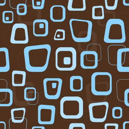 Seamless retro bruin en blauwe achtergrond patroon Stock Illustratie