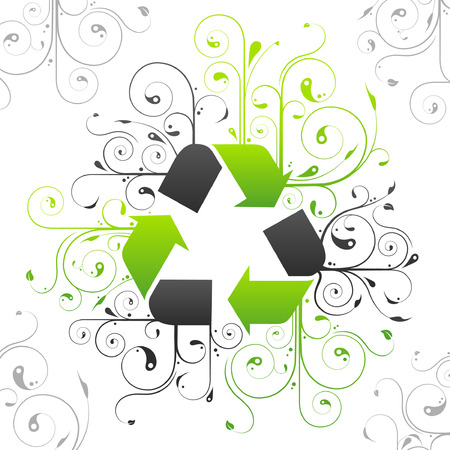 green swirl: Abstract floral green recycle symbol design illustration