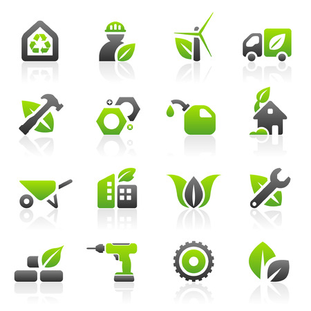 Set of 16 environmental green building and construction icons Vector
