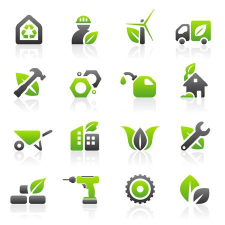 Set van 16 milieu-groen gebouw en de bouw iconen
