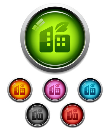 Glossy buildings button icon set in 6 colors Vector