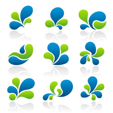 Set van 9 abstracte splash pictogrammen en afbeeldingen Stockfoto - 4089868