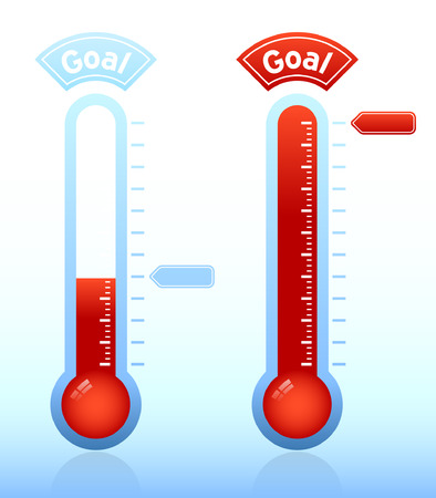 목표를 향해 진도를 보여주는 온도계 그래픽