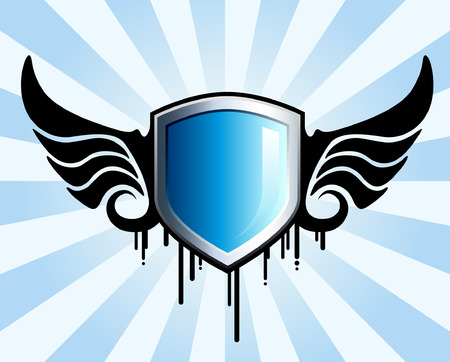Glanzend blauw schild embleem met zwarte vleugels
