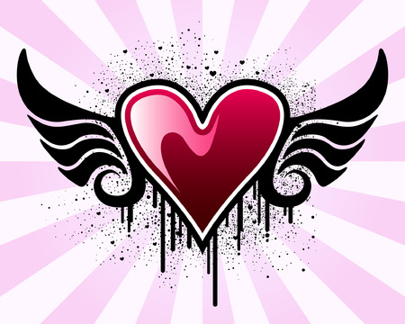 Heart with wings and grunge background Vector