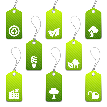 Set of green eco product tags with icons Vector