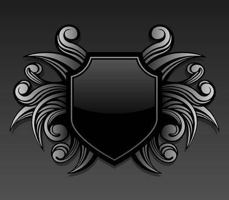 weapons: Gothic style shield emblem with swirl shape accents