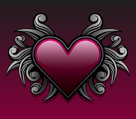 Estilo gótico con el emblema del corazón en forma de remolino forma acentos Foto de archivo - 4138092