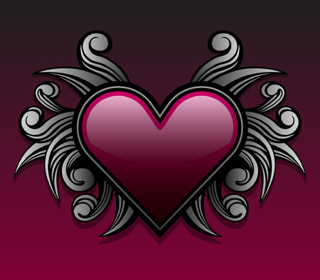 Gothic style heart emblem with swirl shape accents Çizim
