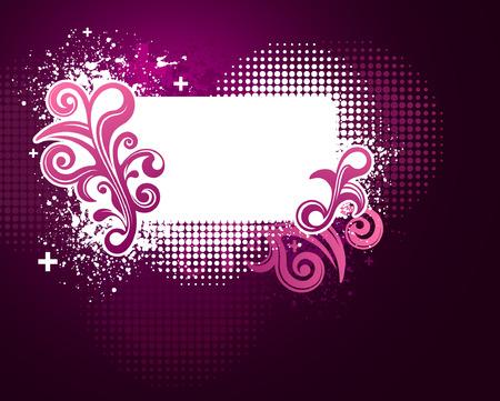Pink and purple grunge floral frame with texture Ilustração