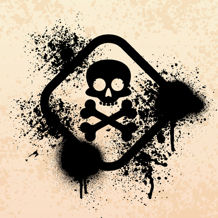 poison symbol: Black grunge skull symbol with paint splatter background Illustration