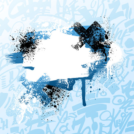 Blue and white graffiti grunge paint splatter background