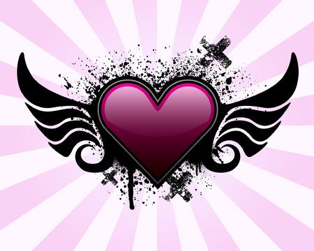 Hart met vleugels en grunge background Stock Illustratie