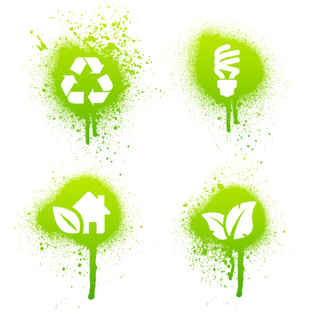 Set of 4 environmental green grunge splatter elements Vector